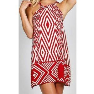 Women's Dress Ivory Red Crimson Ties at Neck S M